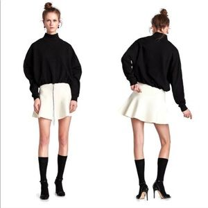 Zara Ivory Knit Winter Skirt with Fuzzy Black Trim